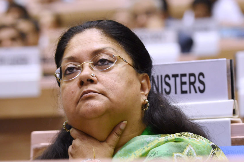 Rajasthan Chief Minister Vasundhara Raje at the launch of the Skill India campaign in New Delhi, July 15. (Subhav Shukla | PTI)