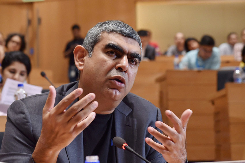 Infosys CEO Vishal Sikka speaks during a press conference to announce the Q1 results of the company at their headquarters in Bengaluru, July 21. (Shailendra Bhojak | PTI)