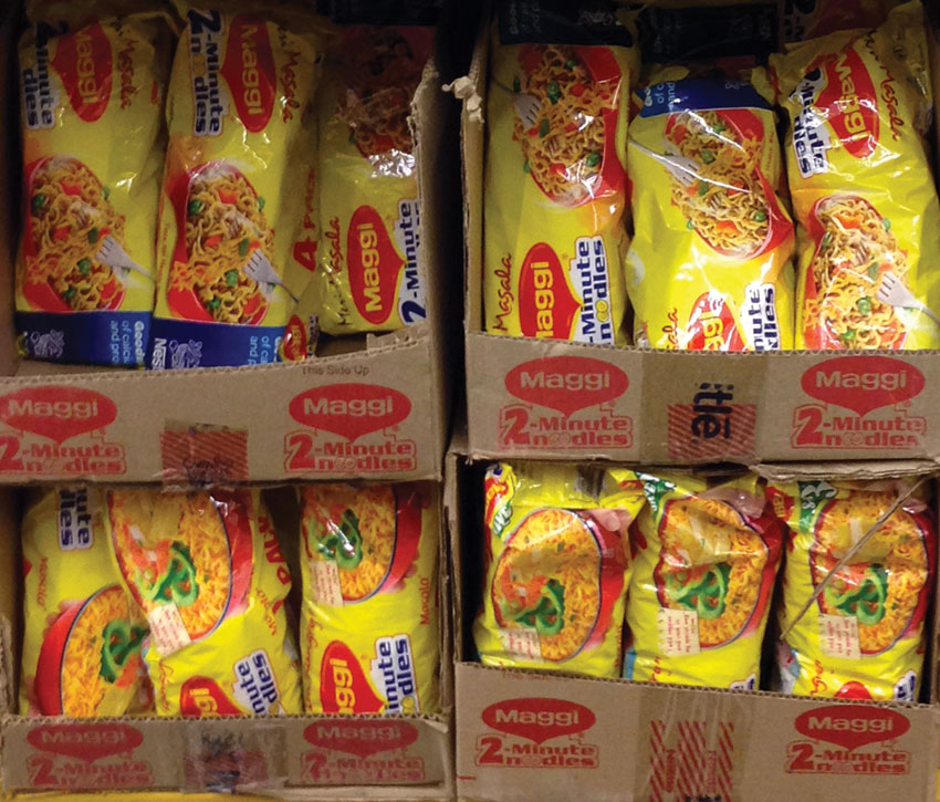 Despite health safety concerns raised by food authorities in India, popular Indian Maggi noodles being retailed at a FoodMaxx in Fremont, Calif. (Seema Gupta | Siliconeer)