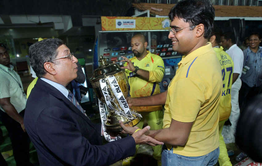File photo of Chennai Super Kings' official Gurunath Meiyappan with his father-in-law and ICC chief N. Srinivasan. (Press Trust of India)