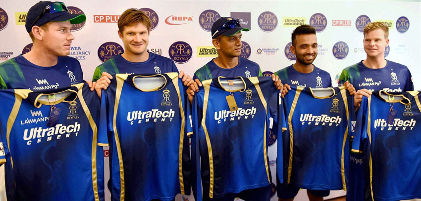 File photo of Rajasthan Royals mentor Rahul Dravid with team Captain Shane Watson and players Ajinkya Rahane, James Faulkner and Steve Smith. The team has been suspended for 2 years by the Supreme Court-appointed Justice Lodha Committee, July 14, in connection with the IPL scam. (Press Trust of India)