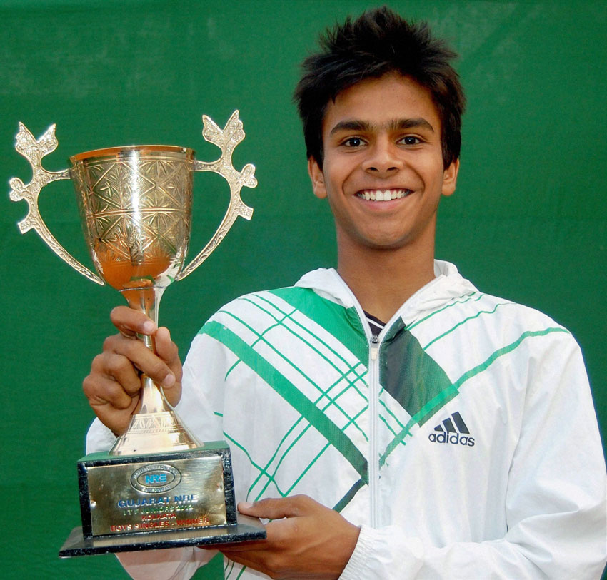 File photo of Indian teenager Sumit Nagal, who won the finals of the Boys Doubles match at the Wimbledon with his Vietnamese partner Nam Hoang Ly. (Press Trust of India)