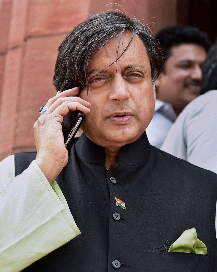Congress leader Shashi Tharoor during the Monsoon Session at Parliament House in New Delhi, July 24. (Kamal Kishore  | PTI)