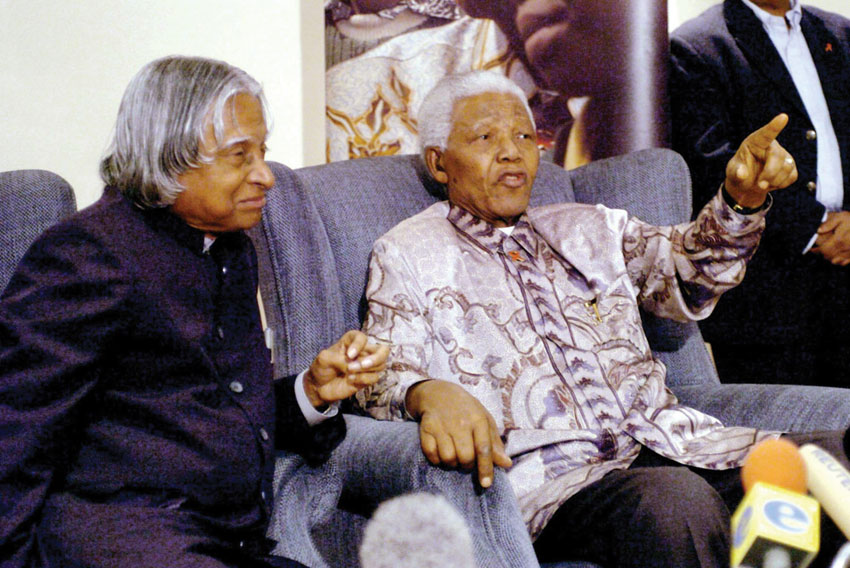 File photo of former President A.P.J. Abdul Kalam addressing the Nation in August 2003. (Press Trust of India)