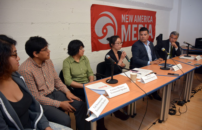 Amy Lin talks to ethnic media at a conference on #Health4All at NAM headquarters in San Francisco, July 21. (Amar D. Gupta | Siliconeer)