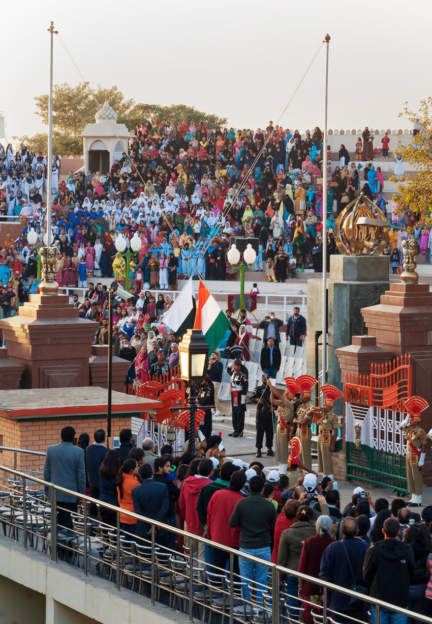 The India-Pakistan Wagah Border Closing Ceremony. It happens at the border gate, two hours before sunset each day. The flag ceremony is conducted by Indian Border Security Force and Pakistan Rangers. (iStock | Getty Images)