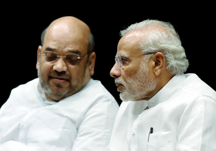 Prime Minister Narendra Modi and BJP President Amit Shah at the BJP parliamentary board meeting in New Delhi, July 28. (Subhav Shukla | PTI)