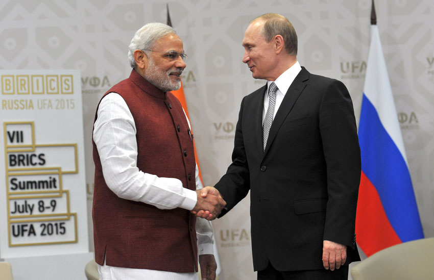 Prime Minister Narendra Modi at a bilateral meeting with the President of Russian Federation, Vladimir Putin, at Congress Hall, in Ufa, Russia, July 8. (Press Information Bureau)