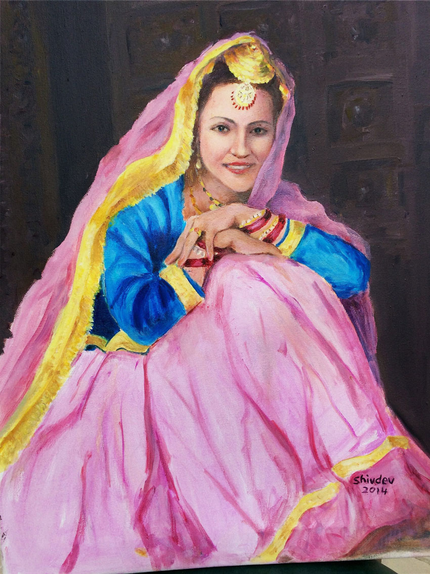 An oil painting by Shivdev Singh depicting a village girl of Punjab, at an exhibition at the Visual Art Gallery in New Delhi. (Press Trust of India)