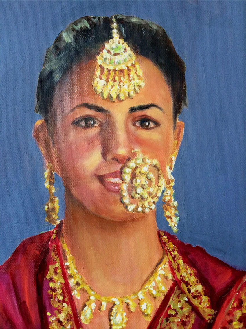 New Delhi: An oil painting by Shivdev Singh depicting a village girl of Punjab, at an exhibition at the Visual Art Gallery in New Delhi. (Press Trust of India)