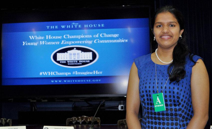 "Swetha Prabakaran won the prestigious ""Champions of Change"" award at the White House in Washigton, D.C., Sept. 15. (Press Trust of India)"