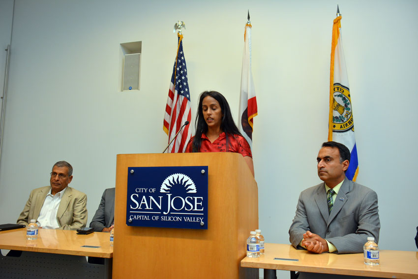 At a press conference to mark Indian Prime Minister Narendra Modi's maiden visit to Silicon Valley after he took office, at the San Jose City Hall, Sept. 24 are (l-r): Naren Gupta of IACWC, Rakhi Israni of IACWC (welcoming the speakers) and San Jose City Council member Ash Kalra. (Amar D. Gupta | Siliconeer)