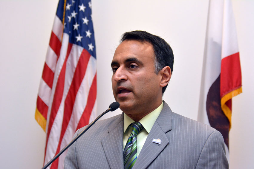 San Jose City Council member Ash Kalra speaks at a press conference to mark Indian Prime Minister Narendra Modi's maiden visit to Silicon Valley after he took office, at the San Jose City Hall, Sept. 24. (Amar D. Gupta | Siliconeer)