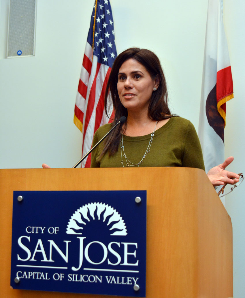 San Jose City Council member Magdalena Carraasco speaks at a press conference to mark Indian Prime Minister Narendra Modi's maiden visit to Silicon Valley after he took office, at the San Jose City Hall, Sept. 24. (Amar D. Gupta | Siliconeer)
