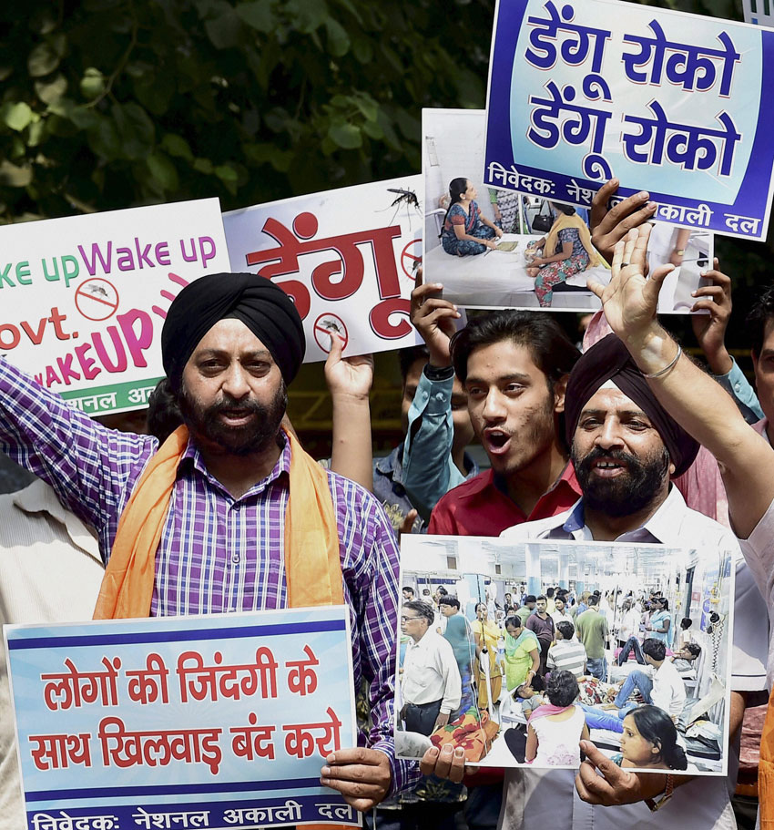 National Akali Dal activists protesting against rise in dengue cases in New Delhi, Sept. 16. (Kamal Kishore | PTI)