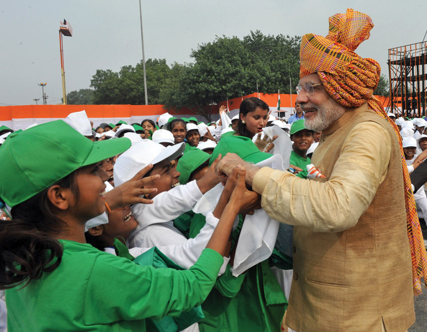 Prime Minister Modi interacting with school children after his address to the Nation at the Red Fort, in Delhi, Aug. 15. (Press Information Bureau)