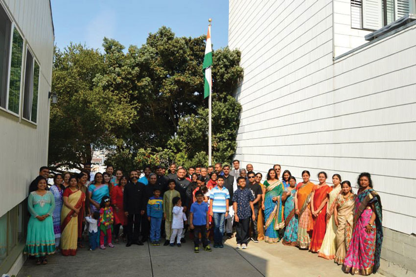 Group photo of Consulate staff and their family members in San Francisco at the Independence Day celebrations. (Facebook | Indian Consulate San Francisco)