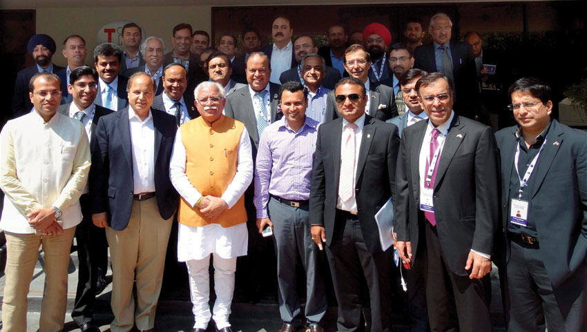 Haryana Chief Minister Manohar Lal Khattar and his delegation visit TiE in Sunnyvale, Aug. 20. (Press Trust of India)