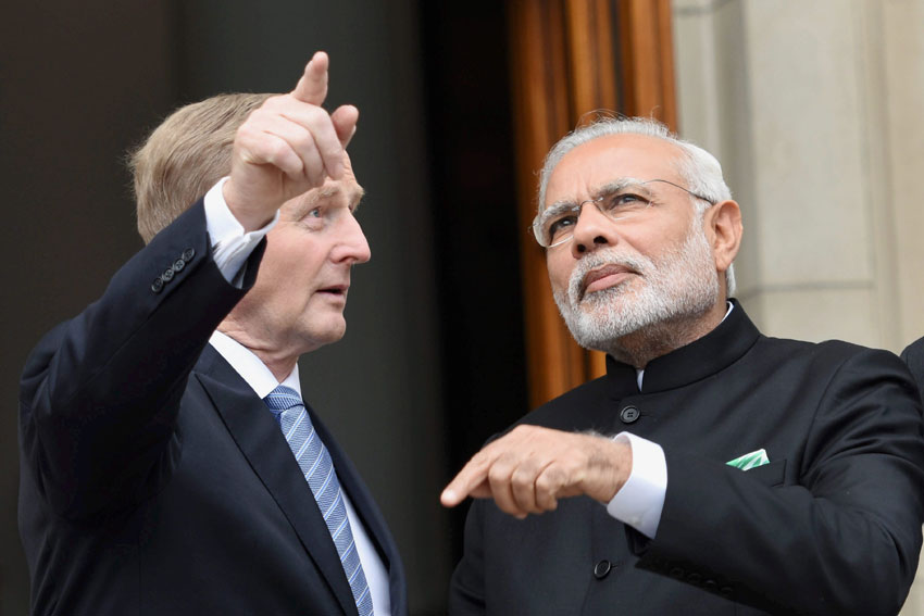 Indian Prime Minister Narendra Modi (r) with his Irish counterpart Enda Kenny on the steps of the Government Buildings in Dublin, Ireland, Sept. 23. (Subhav Shukla | PTI)