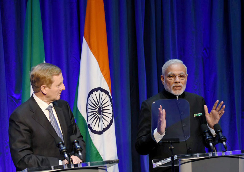 Indian Prime Minister Narendra Modi speaks as his Irish counterpart Enda Kenny looks on during their joint press conference in Dublin, Ireland, Sept. 23. (Subhav Shukla | PTI)