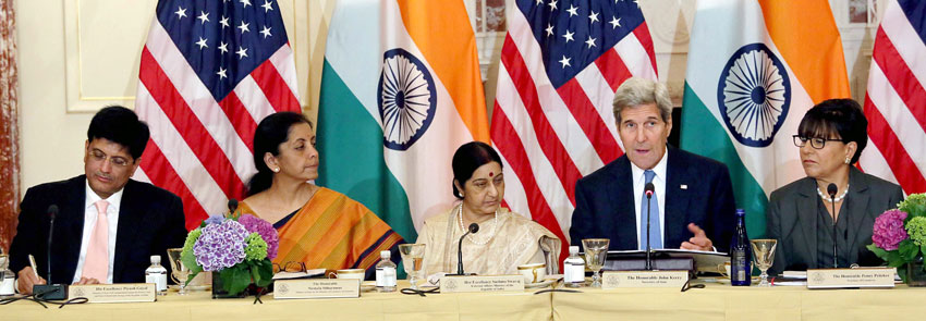 External Affairs Minister Sushma Swaraj (3rd form l) and U.S. Secretary of State John Kerry (2nd from r) at India-U.S. Strategic & Commercial Dialogue at the U.S. State Department in Washington, D.C., Sept. 22. Commerce and Industry Minister Nirmala Sitharaman (2nd from l) and Power Minister Piyush Goyal (l) are also seen. (Press Trust of India)