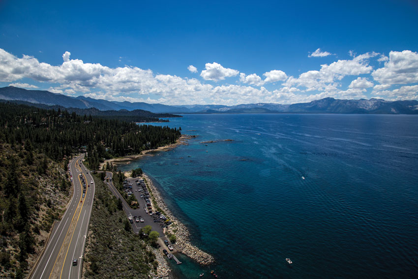 Highway 50 along Lake Tahoe, as it is today.