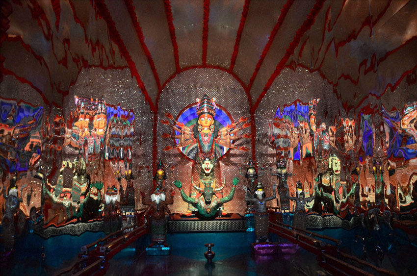 A view of goddess Durga Idol and  puja pandals made of glass in Kolkata, Oct. 16. (Press Trust of India)