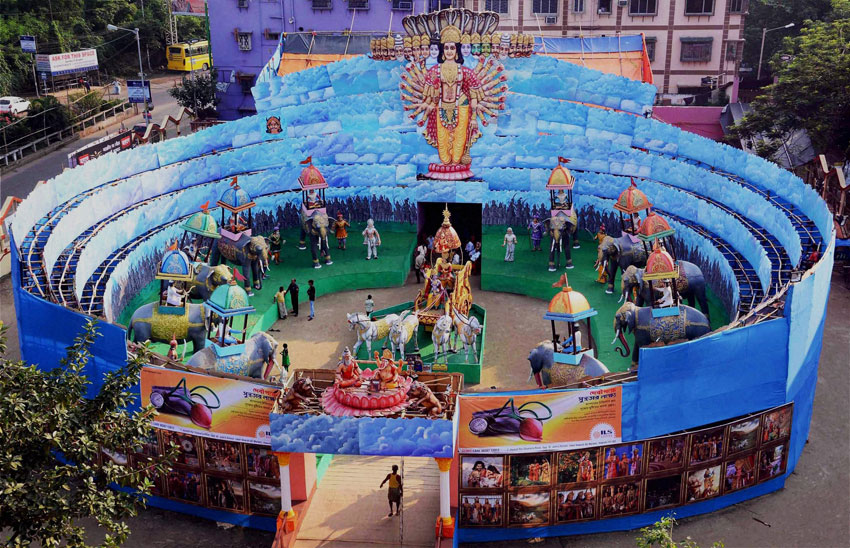 Durga Puja pandal in Howrah district of West Bengal. (Press Trust of India)