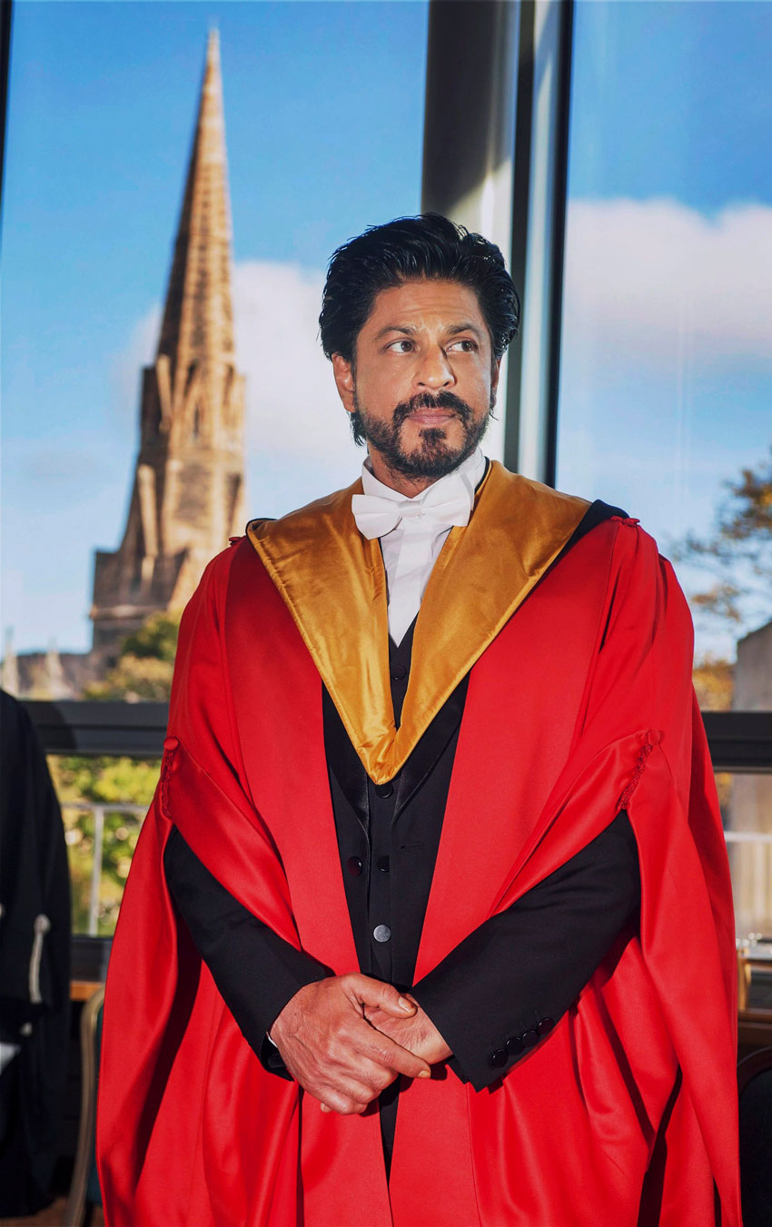 Shah Rukh Khan at a function to receive the Doctorate degree (Honoris Causa) at University of Edinburgh, Scotland, Oct. 15. (Press Trust of India)