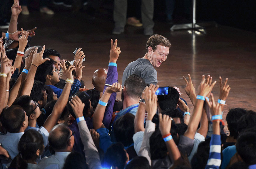 Facebook founder and CEO Mark Zuckerberg during an interaction with students at IIT Delhi, Oct. 28. (Shirish Shete | PTI)