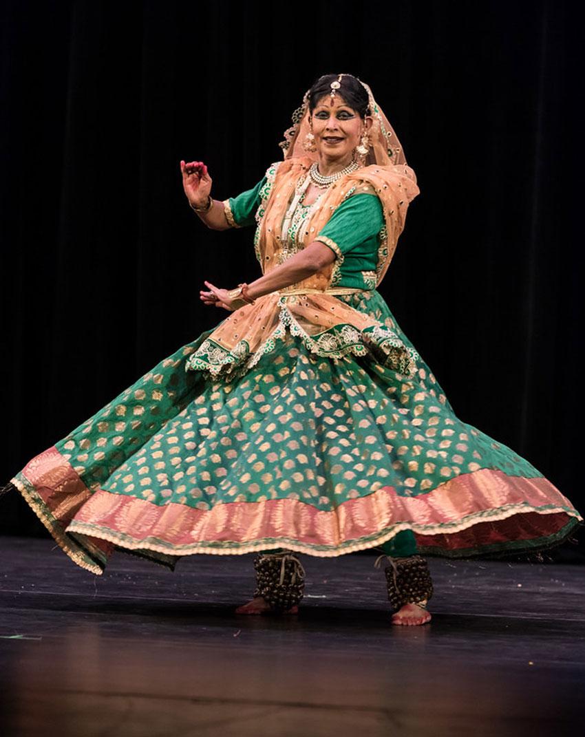 Padmashri Kathak Guru Shovana Narayan performs at Smith Center in Ohlone College, in Fremont, Calif., Sept. 27.