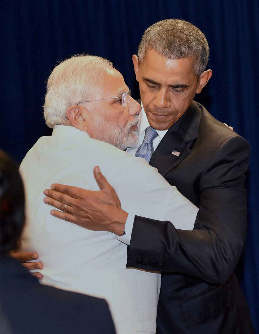 Indian Prime Minister Narendra Modi hugs U.S. President Barack Obama in New York, Sept. 28. (Subhav Shukla | PTI)