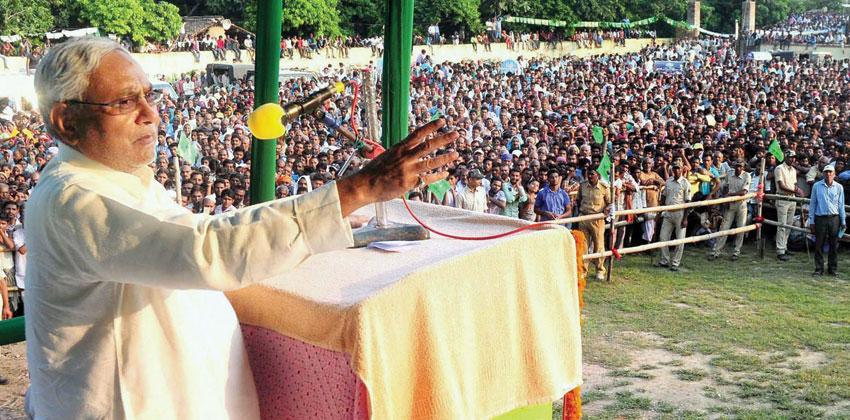 Bihar Chief Minister Nitish Kumar addresses an election rally in Sheikhpura, Bihar, Sept. 29. (Press Trust of India)