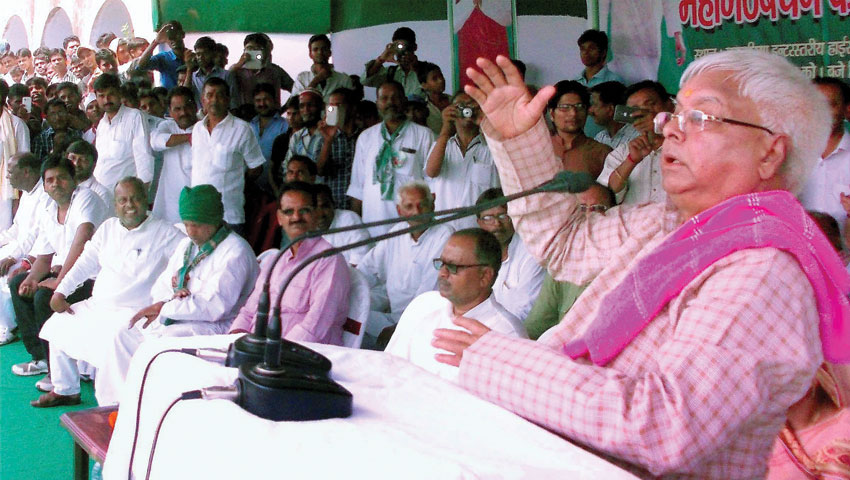 RJD chief Lalu Prasad addressing an election rally in Naugachiya, Bihar, Sept. 29. (Press Trust of India)