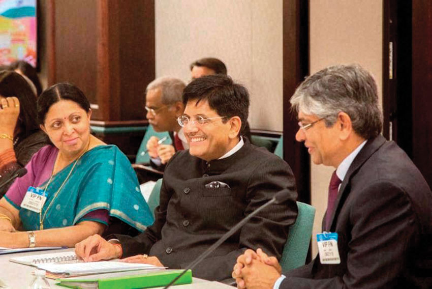 Piyush Goyal, Minister of State (Independent Charge) for Power, Coal, New and Renewable Energy with Indian Ambassador Arun Kumar Singh (r), at the India-U.S. Ministerial Energy Dialog at the U.S. Department of Energy, in Washington, D.C., Sept. 22. (Press Trust of India)