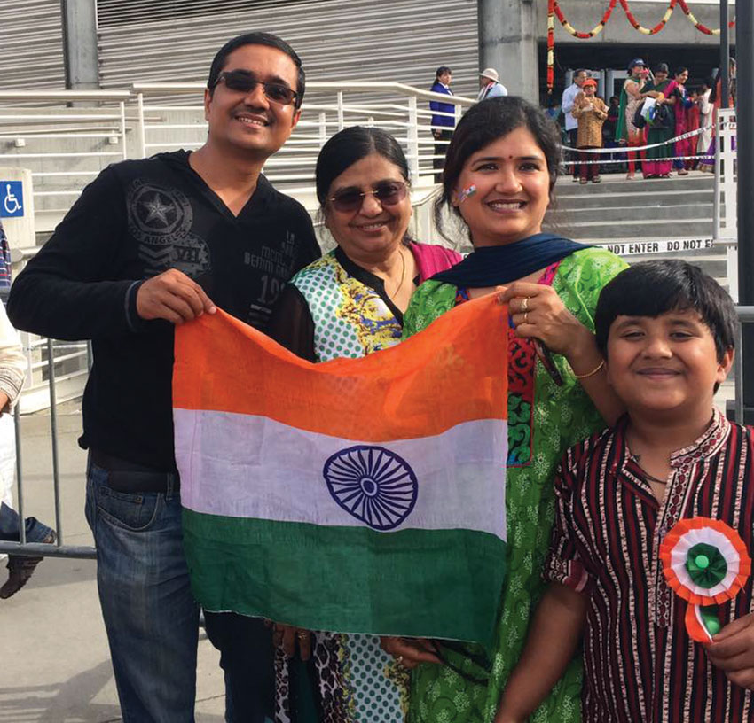 Members of the Indian American community gathered at SAP Center in San Jose, Calif., to greet Prime Minister Narendra Modi on his maiden visit to Silicon Valley. (L-r): From Dadi Pariwar USA Foundation, Mukesh Sharma, Sudha Gupta, Shipra Sharma and Yatharth Sharma (r). (Facebook)