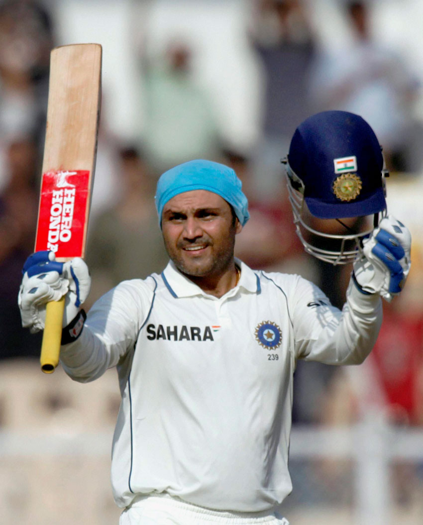 File photo of Virender Sehwag during the Ranji Trophy Match in New Delhi. Virender Sehwag announced retirement from international cricket, Oct. 20. (Press Trust of India)
