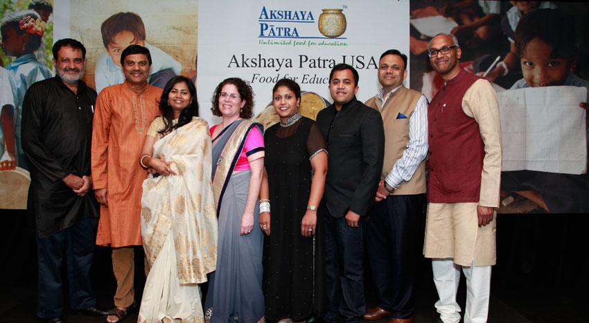 Akshaya Patra staff, supporters and event speakers at the 2015 Bay Area event: (L-r): T.V. Mohandas Pai, B.V. Jagadeesh, Geeta Kulkarni, Emily Rosenbaum, Piyali Dutta, Omi Vaidya and Prabhakar Kalavacherla.