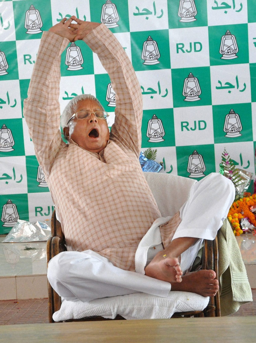 RJD chief Lalu Prasad Yadav relaxes at his residence in Patna, a day after Bihar polls results. (Press Trust of India)
