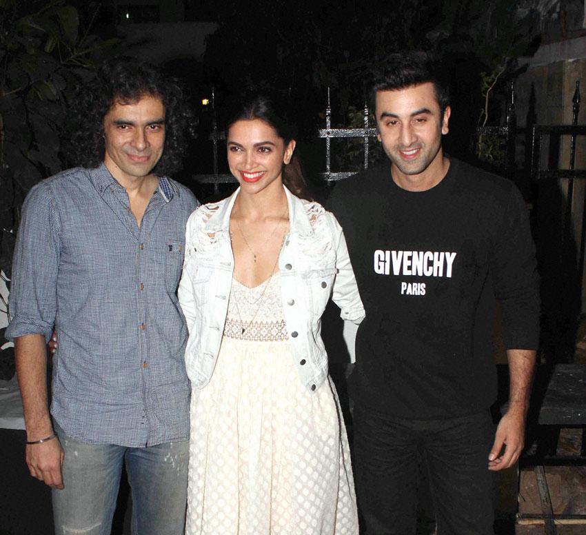 Filmmaker Imtiaz Ali, actors Deepika Padukone and Ranbir Kapoor arrive to watch a play at Prithvi Theatre  in Mumbai, Nov. 7. (Press Trust of India)