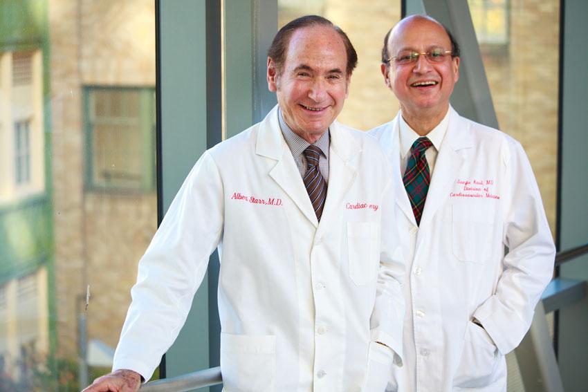 Albert Starr, MD, and Sanjiv Kaul, MD (r). (Photo: www.OHSU.edu)