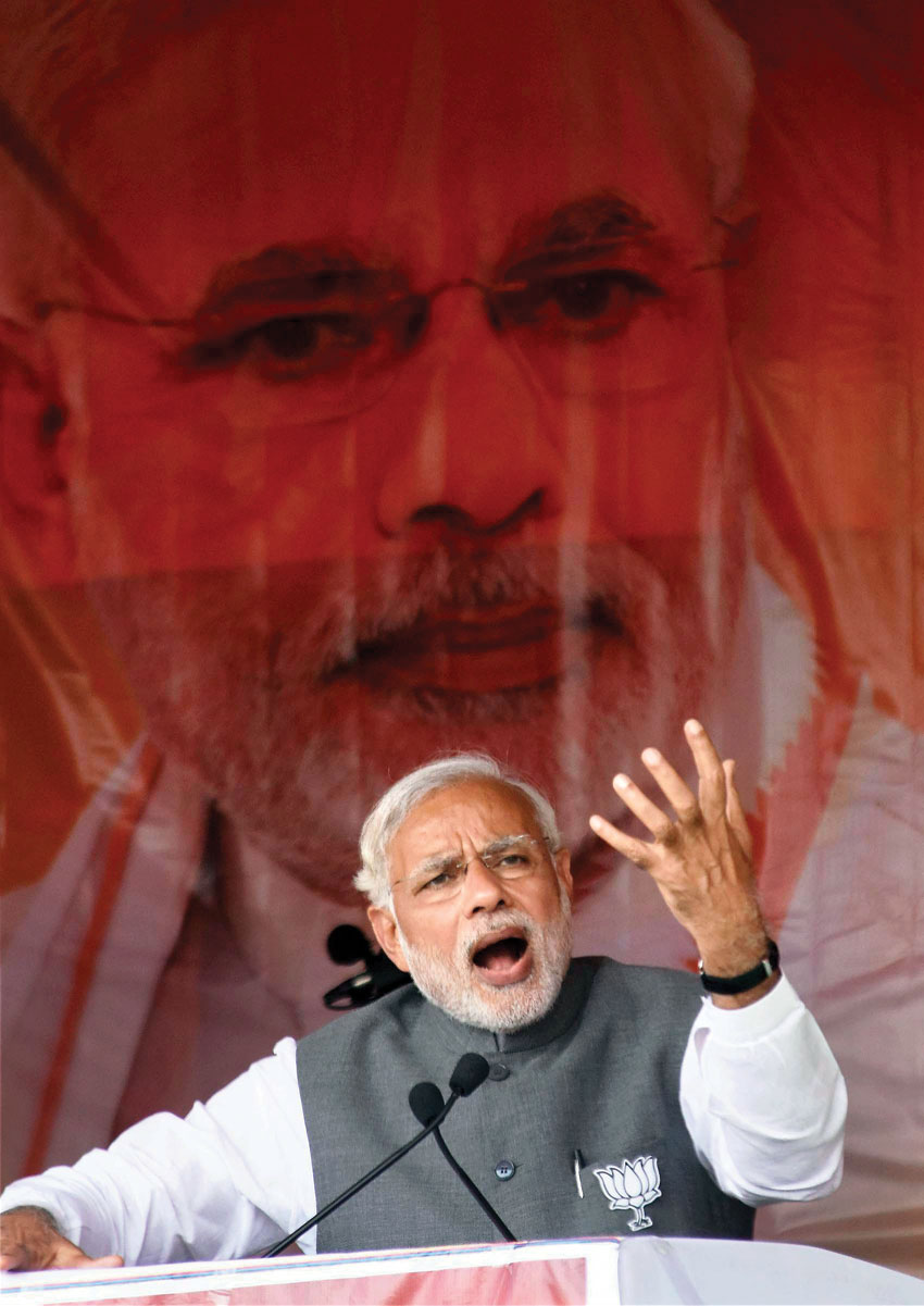 A passionate Prime Minister Narendra Modi, while addressing an election rally. (Press Trust of India)