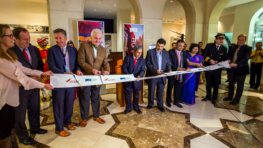 Ribbon-cutting ceremony to welcome the inaugural Air India flight arriving at San Francisco International Airport, Dec. 2. (SFO)