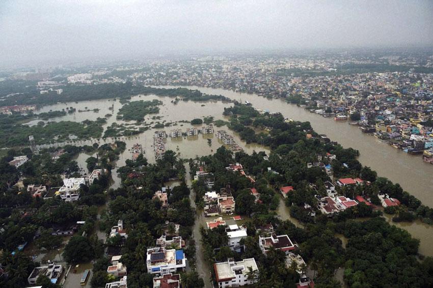Aerial view of flood-hit Chennai following heavy rainfall, Dec. 3. (Atul Yadav | PTI)