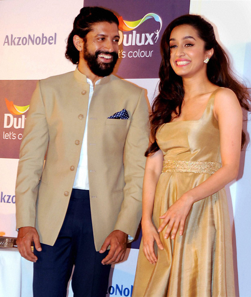 Farhan Akhtar and Shraddha Kapoor at an event in Mumbai, Dec. 2. (Press Trust of India)