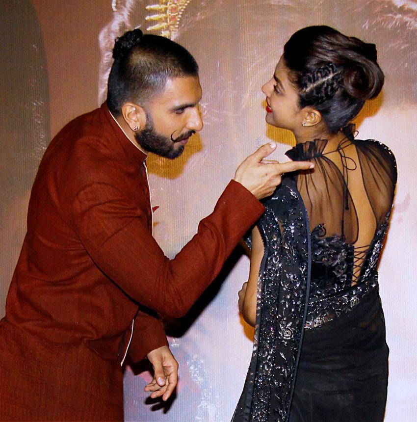 Ranveer Singh and Priyanka Chopra at a promotional event in Mumbai, Nov. 28. (Press Trust of India)