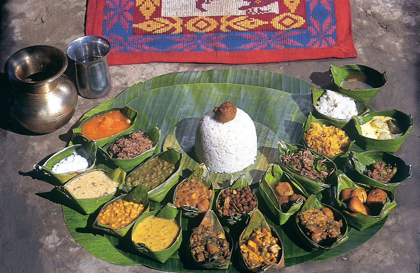 Traditional food spread, Manipur. (Incredible India)