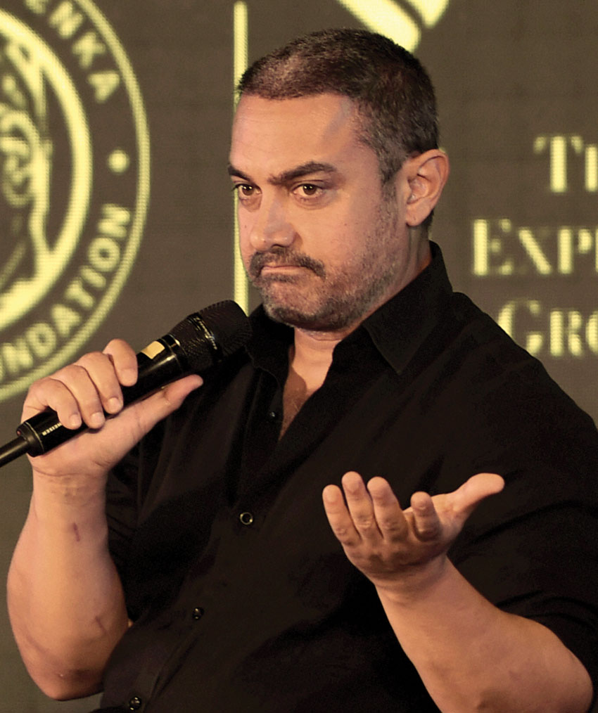 Aamir Khan speaks at the 8th edition of Ramnath Goenka Excellence in Journalism Awards in New Delhi, Nov. 23. (Shahbaz Khan | PTI)