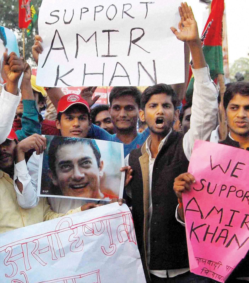 Samajwadi Party activists shouting slogans during their rally in support of actor #AamirKhan who is facing nationwide criticism following his remarks over growing intolerance in the country, in Allahabad, Nov. 26. (Press Trust of India)