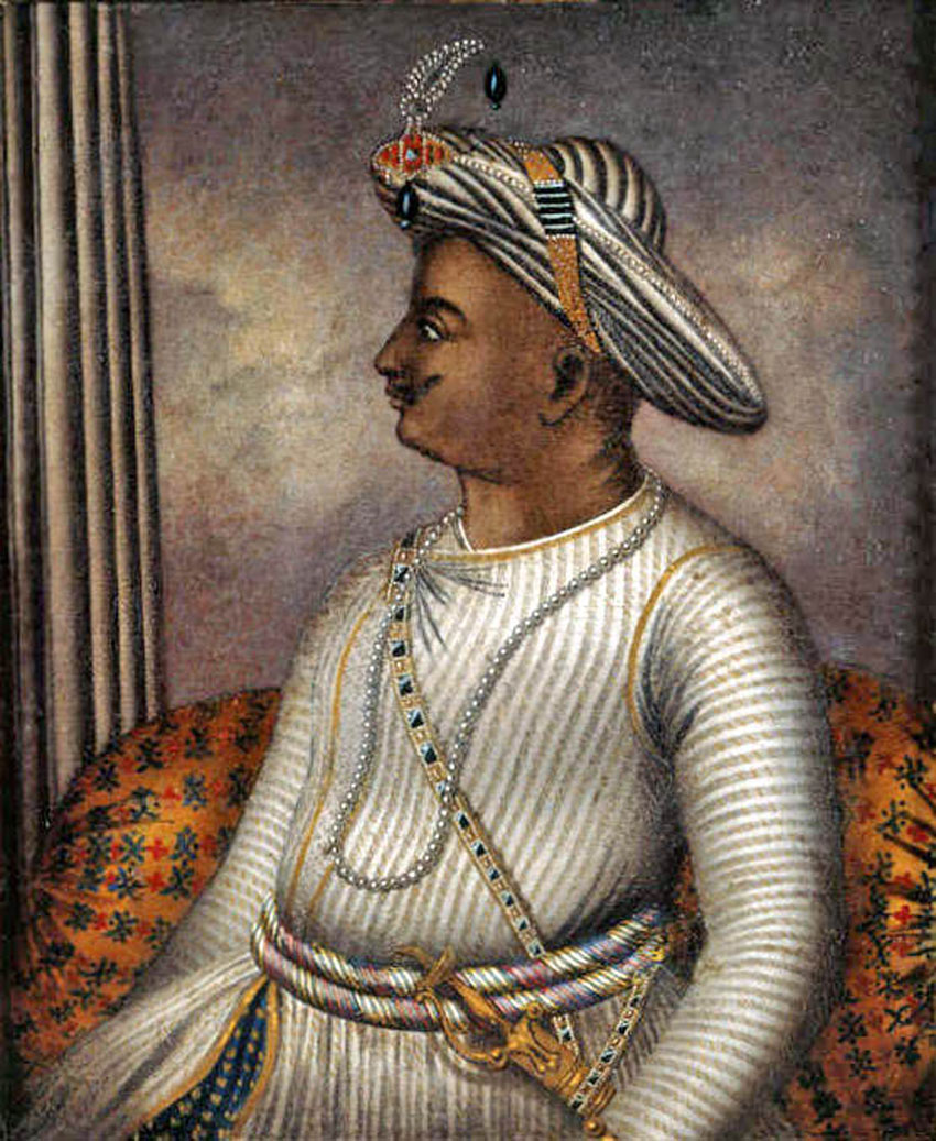 Portrait of Tipu Sultan once owned by Richard Colley Wellsley, now in the care of the British Library. [Cicra 1792]. (Wikimedia Commons)